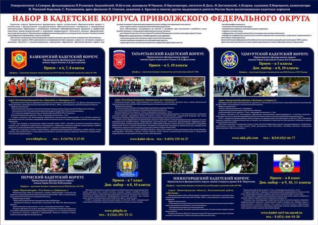 Плакат Набор в кадетские корпуса